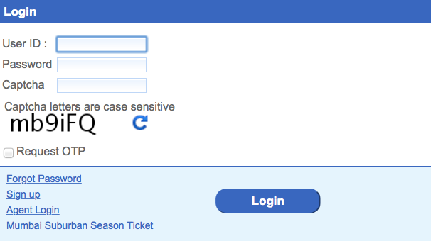 IRCTC login www.irctc.co.in