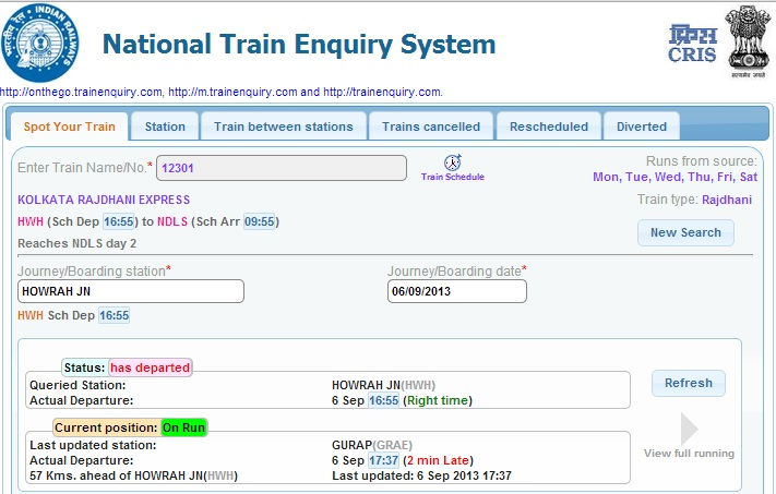 national train enquiry system Indian Railways